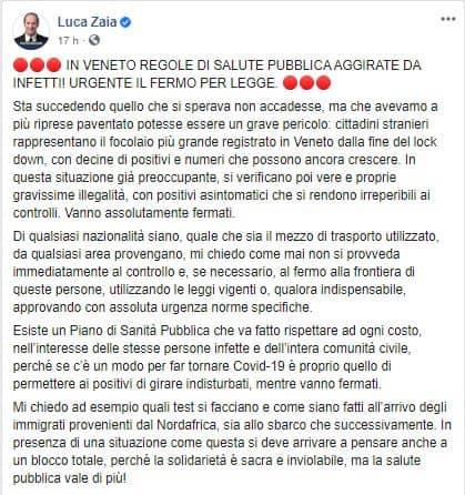 Il post di Luca Zaia su Facebook