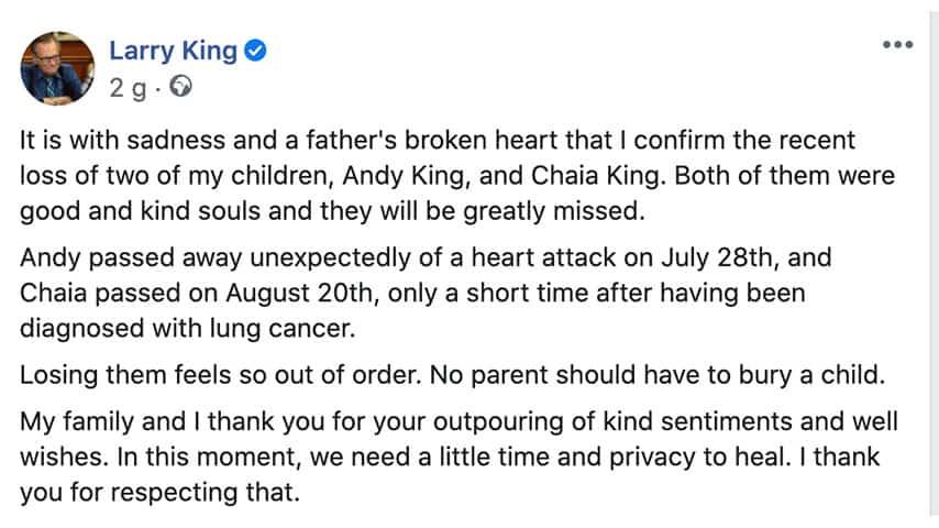 Post di Larry King su Facebook