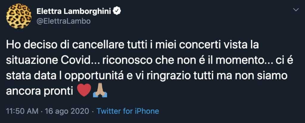 Il tweet di Elettra Lamborghini