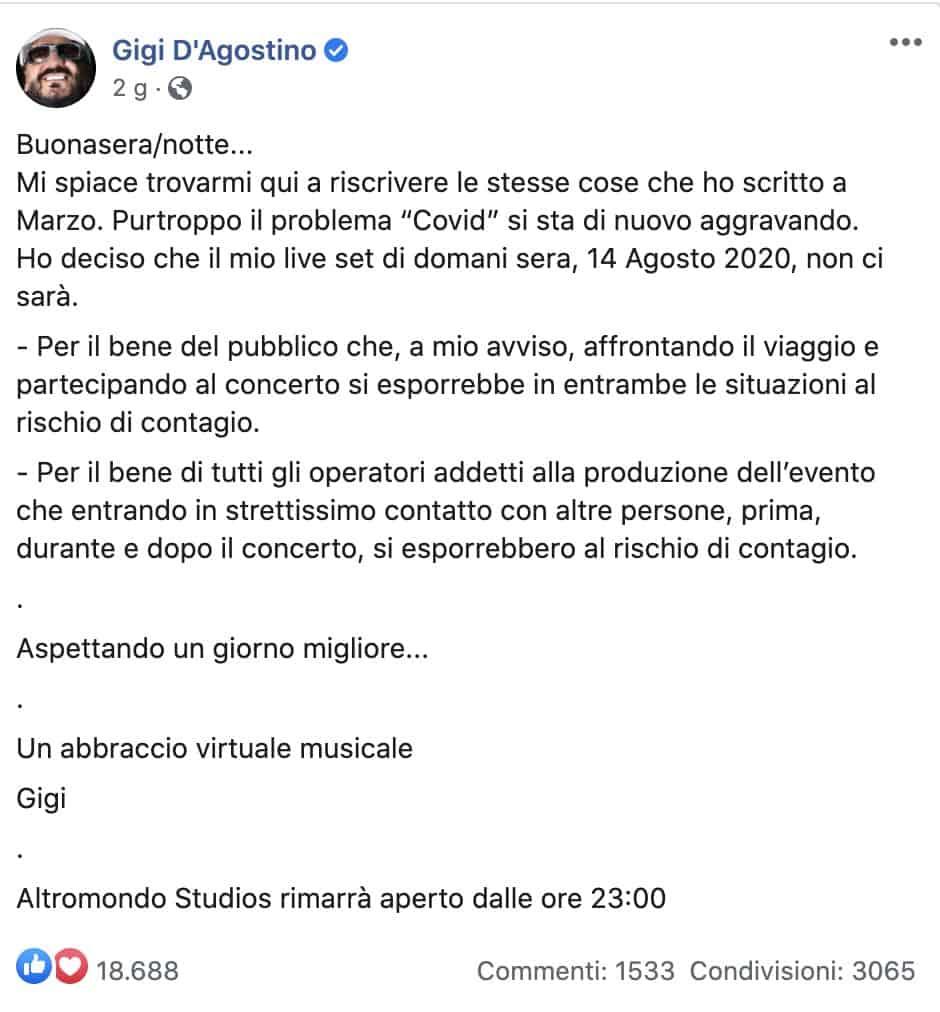 Il post Facebook di Gigi D'Agostino