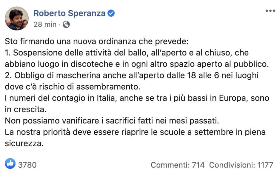 Il post Facebook del ministro Speranza