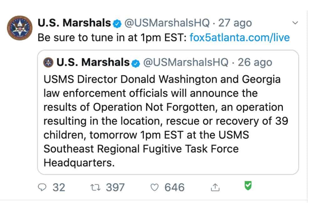 Tweet dello Us Marshals Service