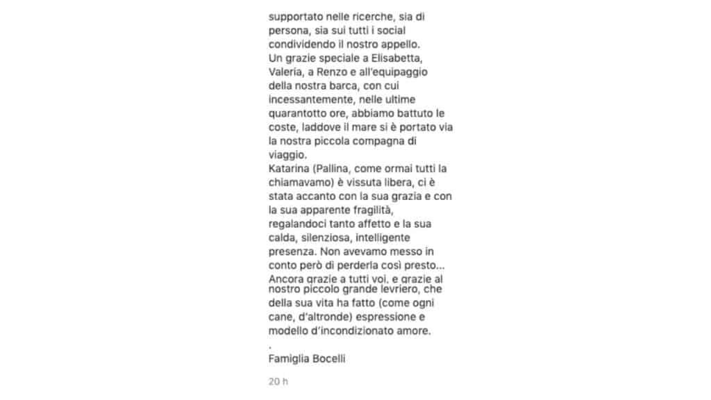 post instagram d'addio al cane pallina da parte di Andrea Bocelli