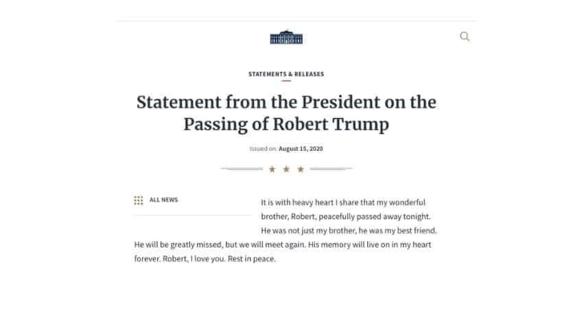 Il comunicato stampa che annuncia la morte di Robert Trump