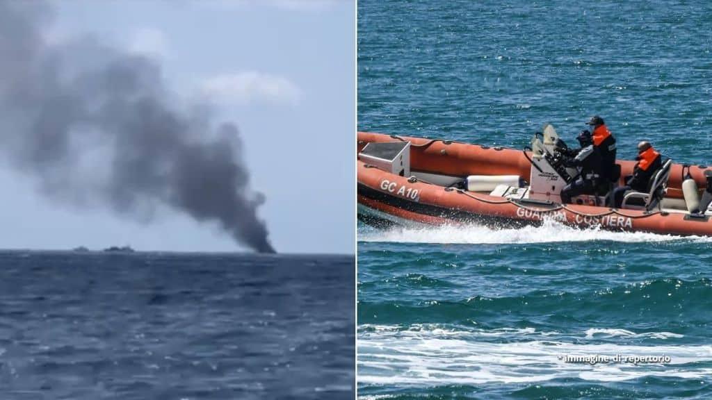 Barcone di migranti in fiamme e gommone della Guardia Costiera