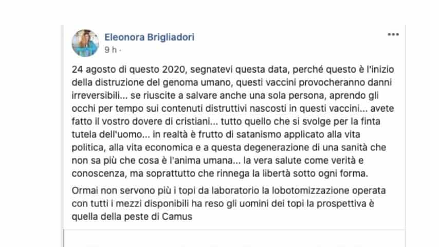 Il post di Eleonora Brigliadori contro il vaccino da Coronavirus