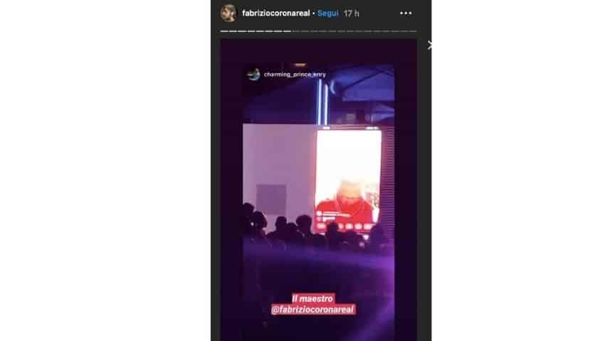 Fabrizio Corona in diretta streaming al compleanno del figlio