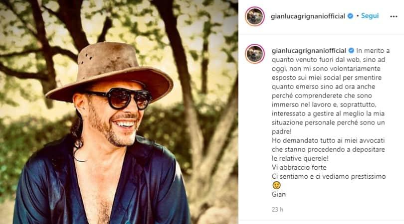 Post pubblicato da Gianluca Grignani sul suo profilo Instagram in cui spiega di essere interessato a gestire al meglio la difficile situazione, in particolar modo per il bene dei suoi figli. Aggiunge, inoltre, di essersi rivolto a degli avvocati.