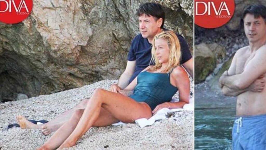 Giuseppe Conte e Olivia Paladino al mare