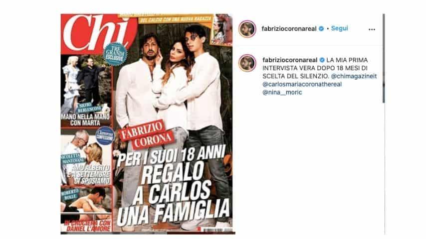 Il post di Fabrizio Corona che condivide la copertina di Chi con la sua intervista