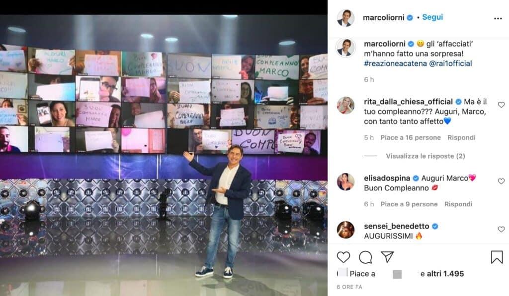 Il post Instagram di Marco Liorni