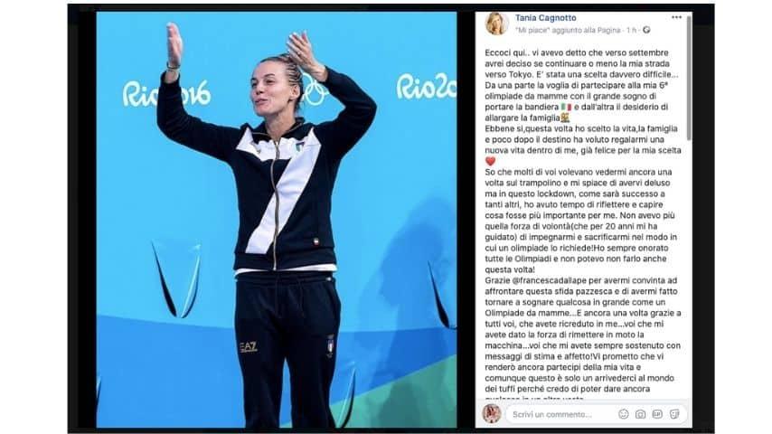 il post con cui Tania Cagnotto annuncia l'addio allo sport