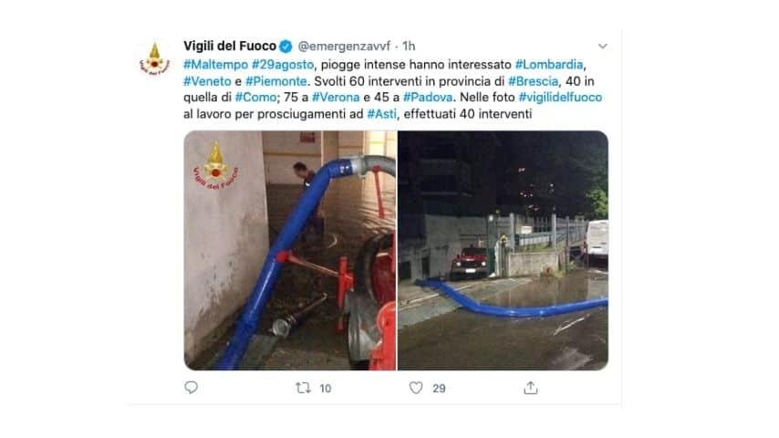 Il tweet dei vigili del fuoco sull'emergenza maltempo