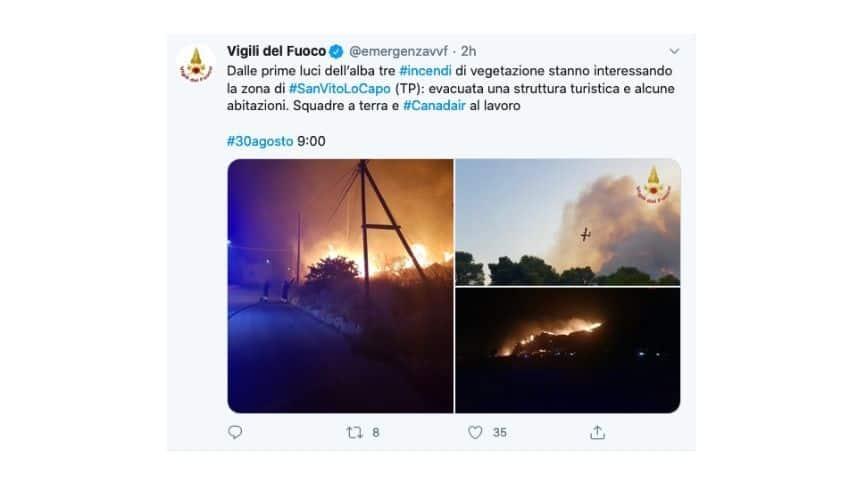 Le immagini degli incendi a San Vito Lo Capo