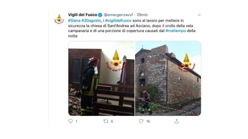 Il post dei vigili del fuoco sul crollo di una chiesa