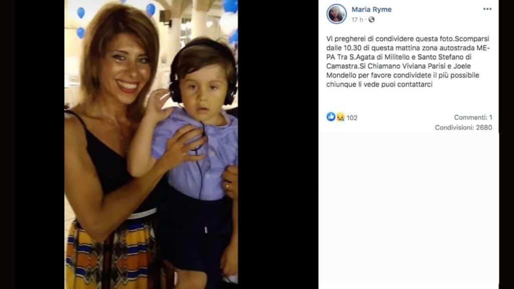 Viviana Parisi e il figlio Gioele nel post di un familiare