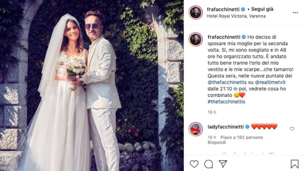 Wilma Faissol e Francesco Facchinetti sposi