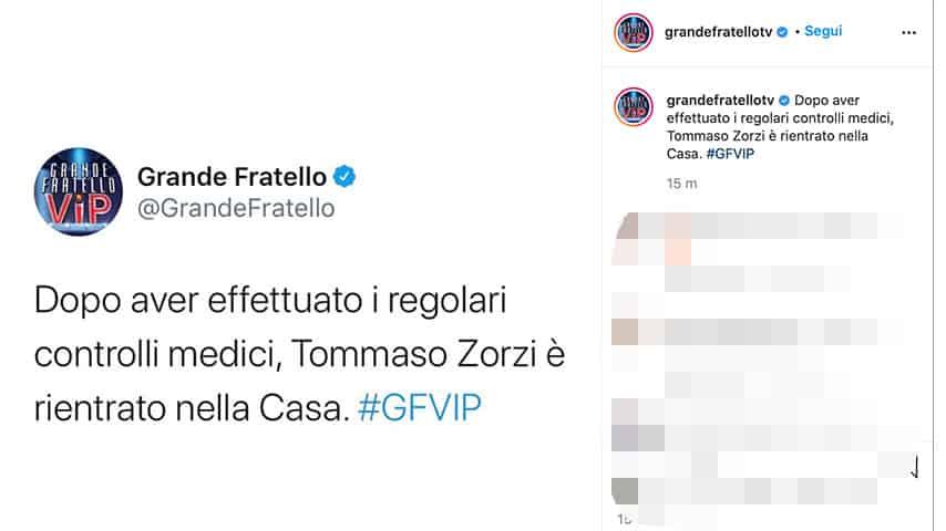 Post Grande Fratello Vip su Tommaso Zorzi