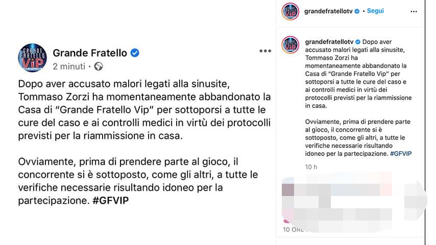 Post del Grande Fratello Vip su Instagram