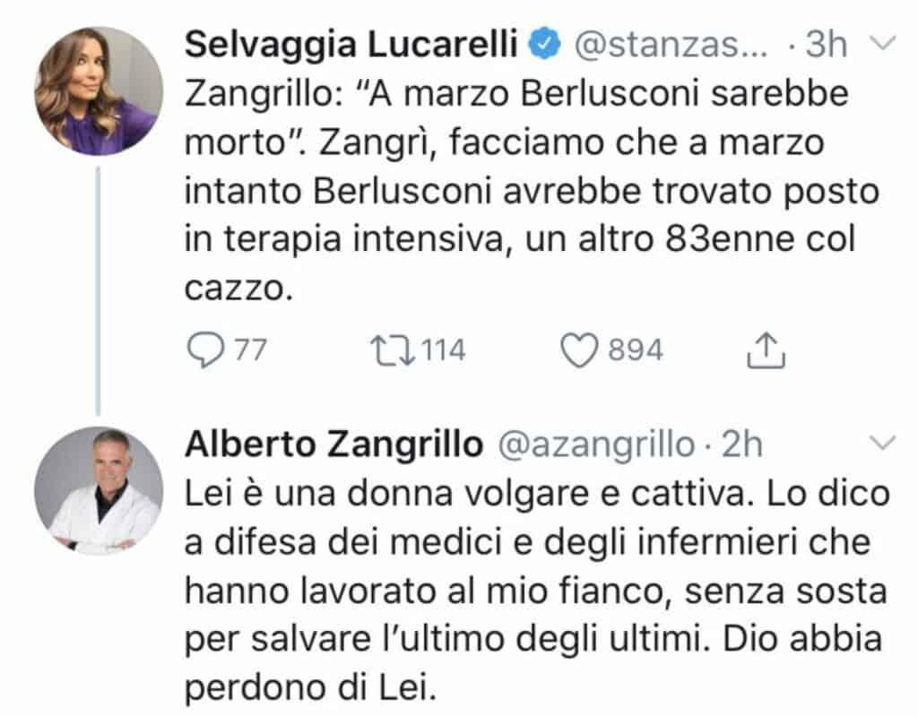 Il botta e risposta tra Selvaggia Lucarelli e il professor Zangrillo