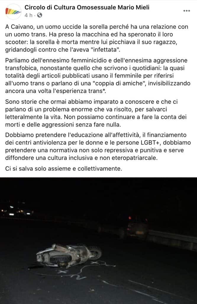 Il post del Circolo di Cultura Omosessuale Mario Mieli