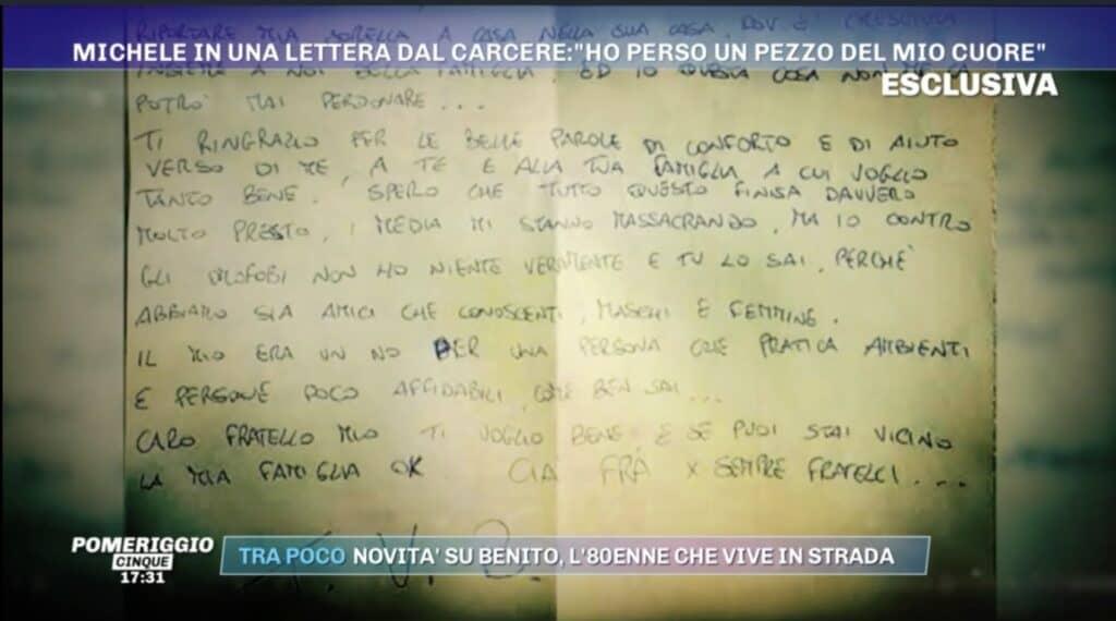 La lettera di Michele Gaglione mandata in onda a Pomeriggio 5