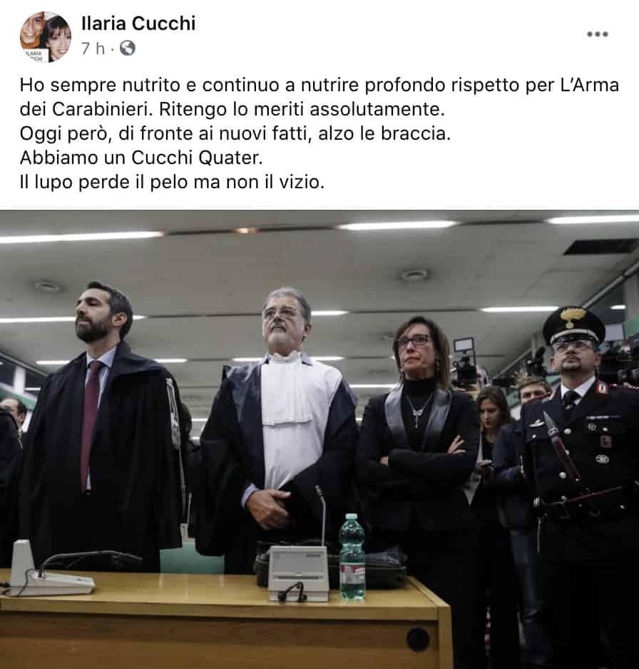 Il post Facebook di Ilaria Cucchi