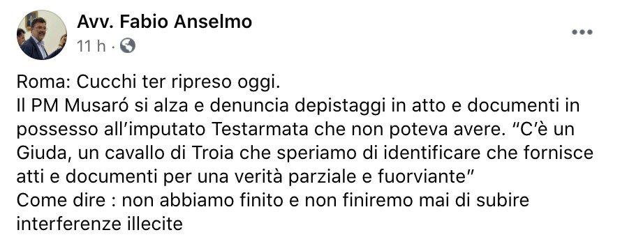 Il post Facebook di Fabio Anselmo