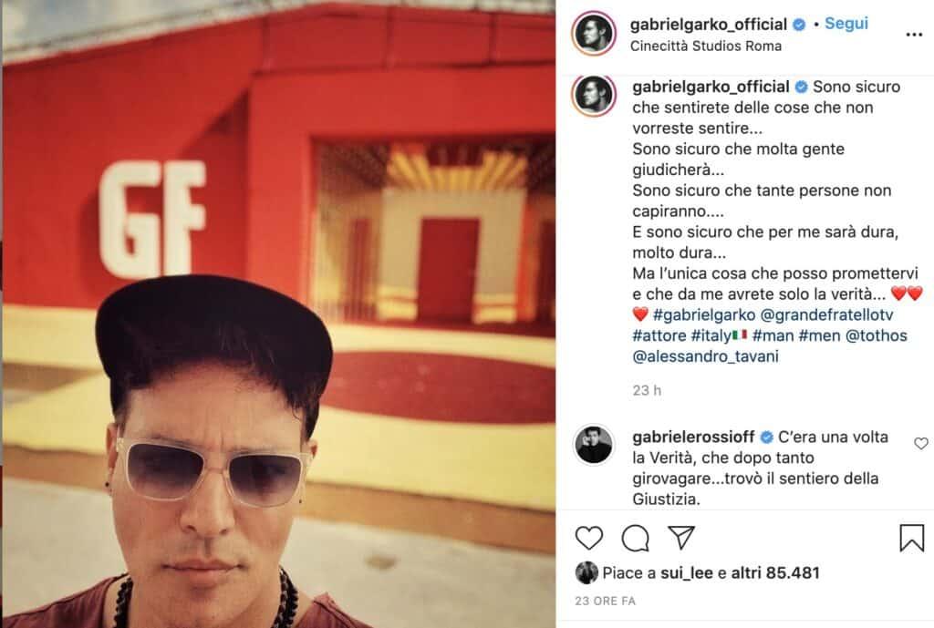 Il post Instagram di Gabriel Garko