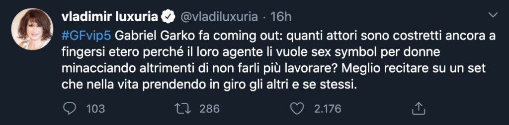 Il tweet di Vladimir Luxuria