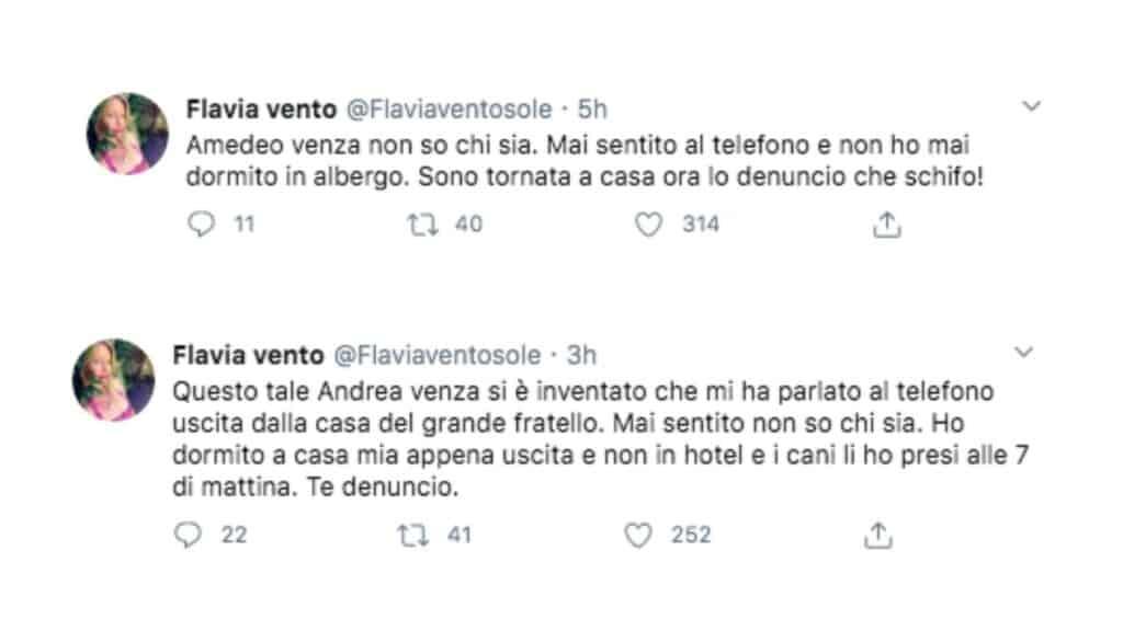 Flavia Vento su Twitter contro Amedeo Venza