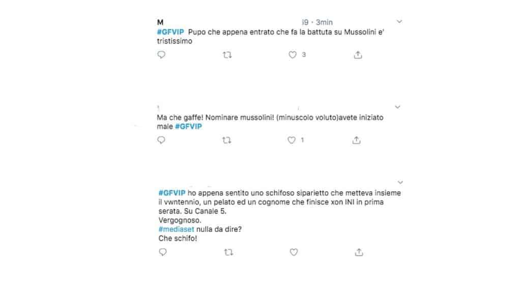 I commenti degli utenti sulla battuta di Pupo. Fonte: Twitter