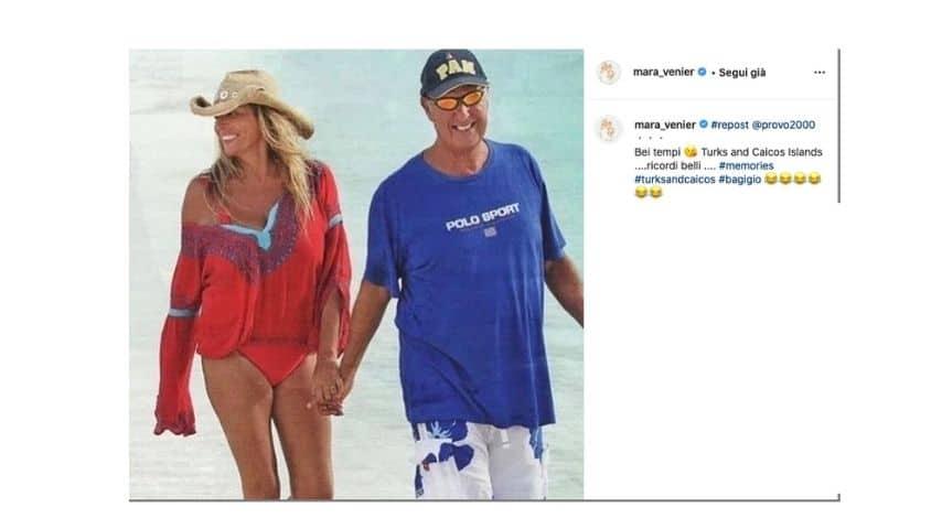 Mara Venier e Nicola Carraro su Instagram