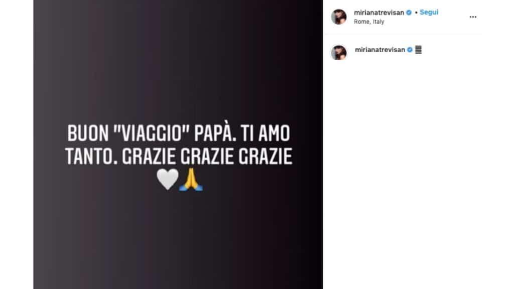 post instagram miriana trevisan morte padre