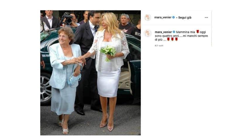 Mara Venier nel giorno delle nozze iniseme alla mamma
