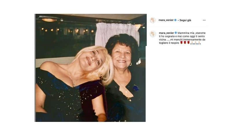 Mara Venier in una foto con mamma Elsa postata su Instagram