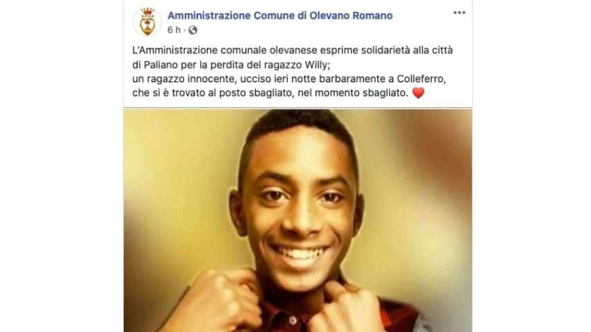 Il post del comune di Olevano Romano per ricordare Willy Monteiro