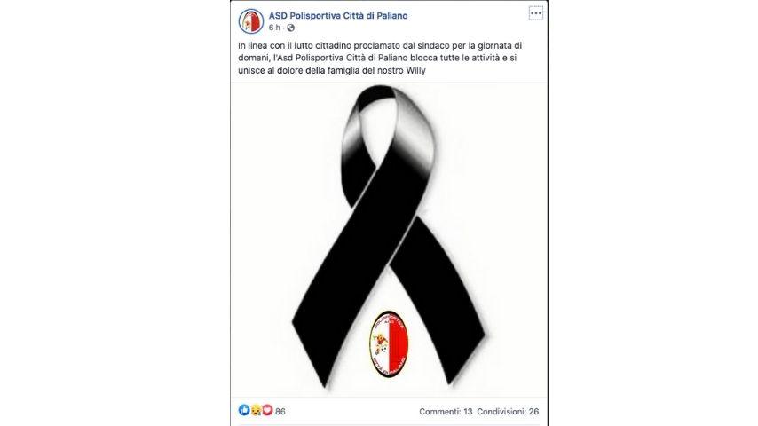 Il post dell'associazione sportiva di Paliano