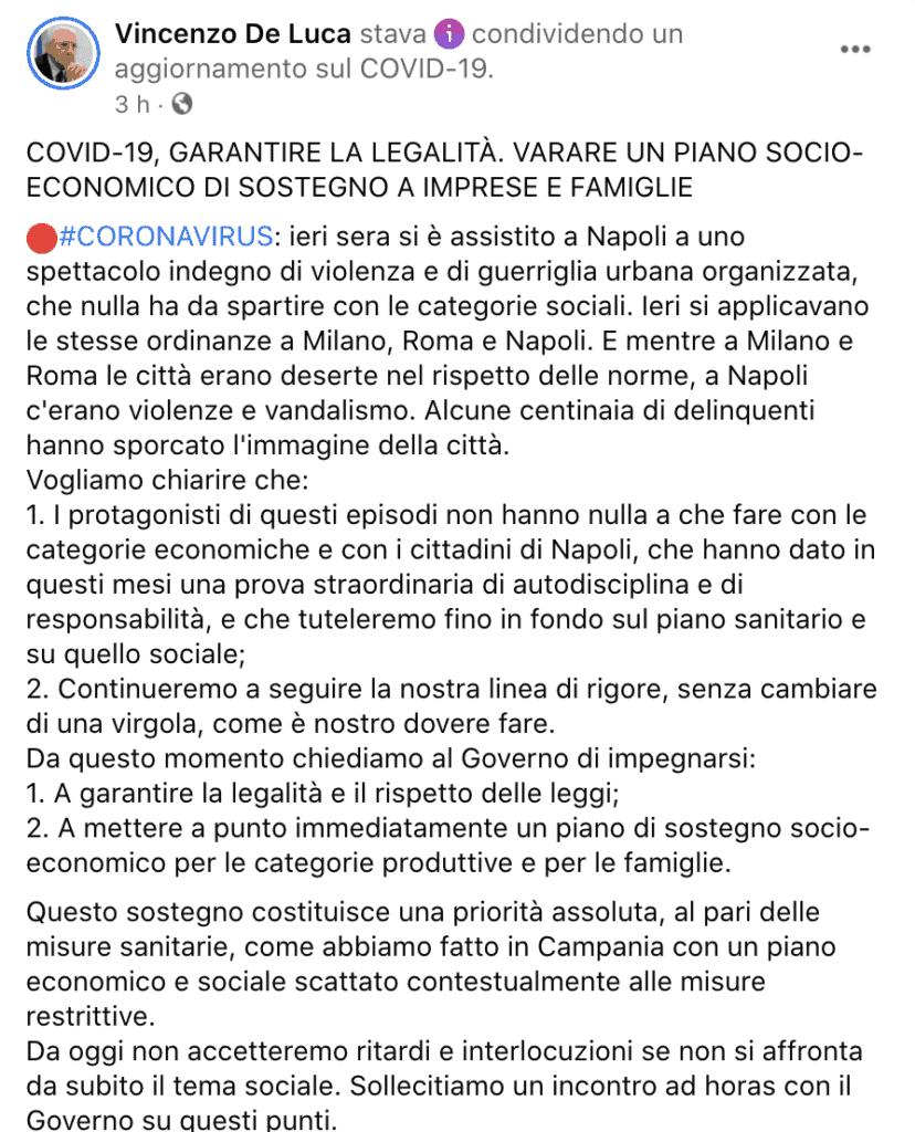 Il post di Vincenzo De Luca