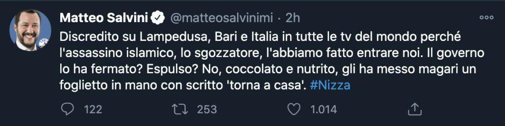 Un tweet di Matteo Salvini sull'attentato di Nizza