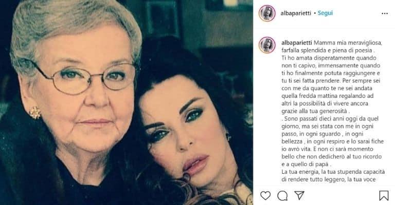 Alba Parietti insieme alla madre Grazia