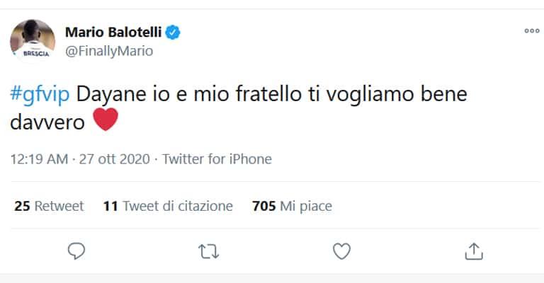 Balotelli manda un messaggio d'affetto a Dayane Mello