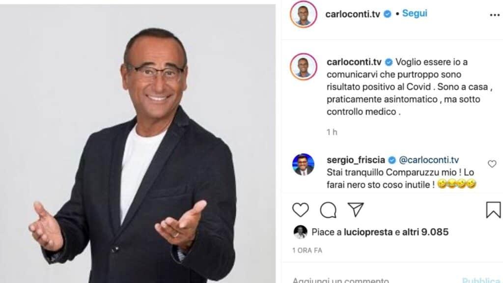 carlo conti positivo al coronavirus instagram