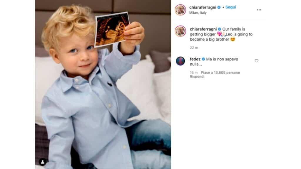 Post di Chiara Ferragni col piccolo Leone