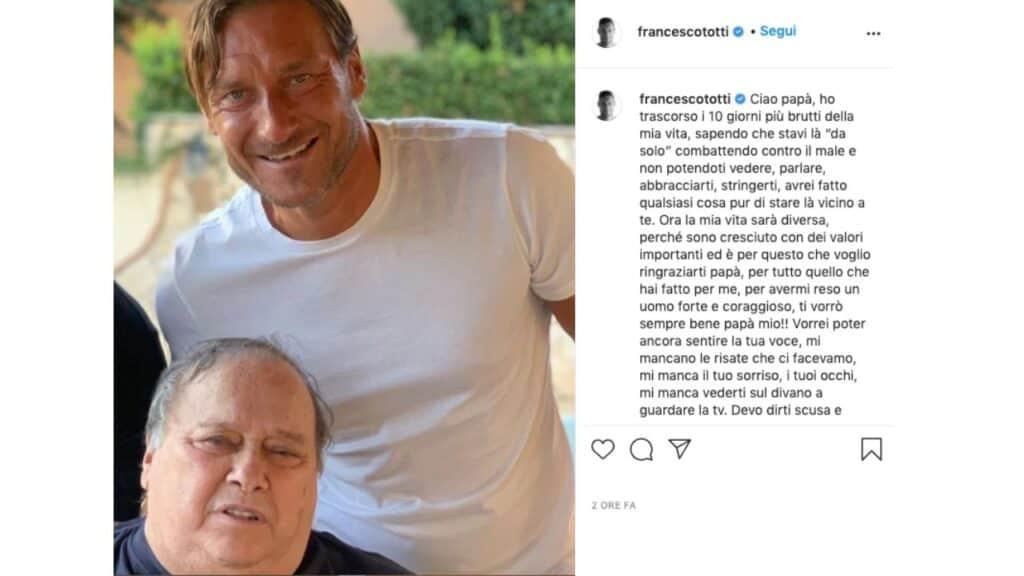 addio di Francesco Totti al padre Enzo su instagram