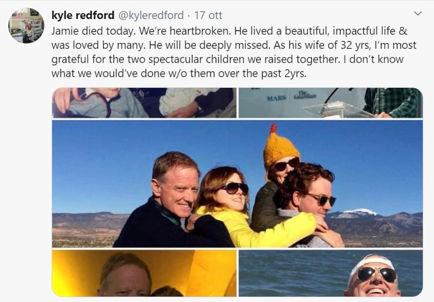 Tweet della moglie di James Redford