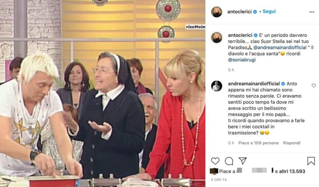 Il post Instagram di Antonella Clerici