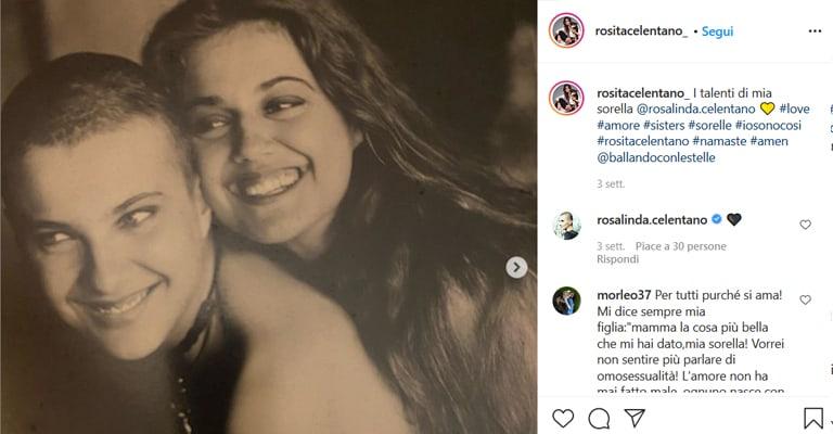 Un post su instagram pubblicato da Rosita Celentano in onore della sorella Rosalinda.  Nella descrizione: