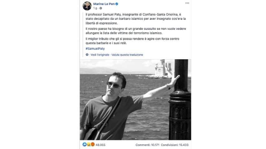 Il post di Marie Le Pen per Samuel Paty
