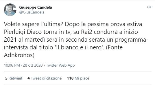 Tweet del giornalista Giuseppe Candela che comunica la novità Rai: il programma 'Il bianco e il nero' alla cui conduzione ci sarà il giornalista Pierluigi Diaco